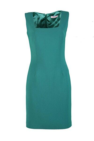 pimood Belle Yeşil Kare Yakalı Kolsuz Mini Krep Elbise