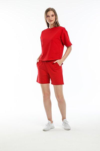 BESSA Kırmızı Takım Oversize Tişört Regular Fit Cepli Şort