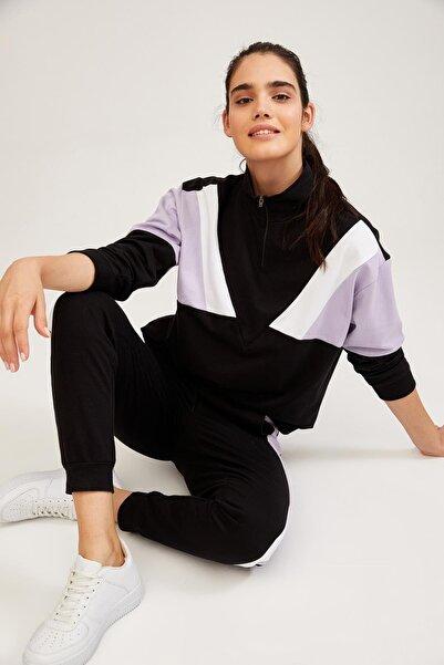 DeFacto Renk Bloklu Fermuarlı Sweatshirt