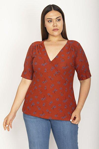 Şans Kadın Taba Anvelop Görünümlü V Yaka Süs Düğmeli Omuz Ve Kol Büzgü Detaylı Bluz 65N26860