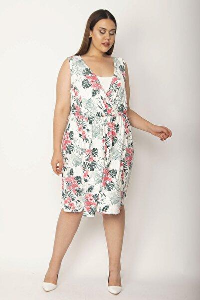 Şans Kadın Kemik İç Yakası Düz Kumaş Detaylı Anvelop Yakalı Çiçek Desenli Elbise 65N26950