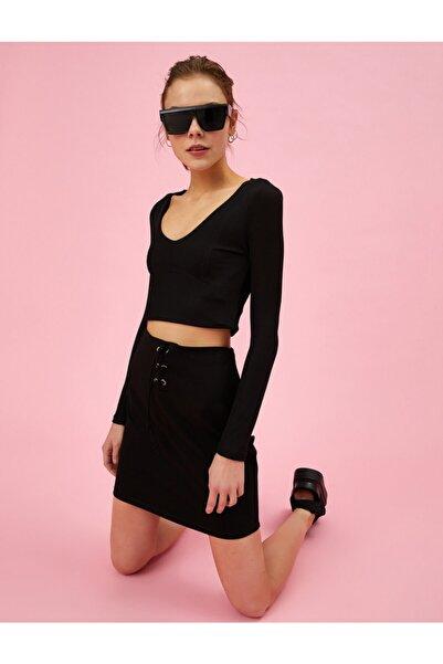 Koton Kadın Siyah Belden Bağlamalı Pamuklu Mini Etek
