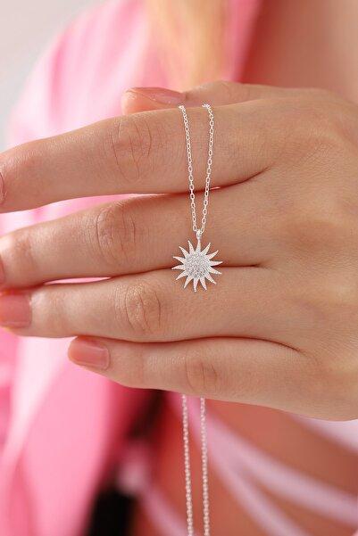 takı tak silver Kadın Tamamı 925 Ayar Gümüş Zirkon Taşlı Güneş Modeli Kolye