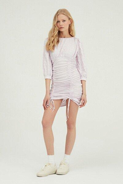 Quzu Kadın Lila Çizgili Büzgülü Mini Elbise