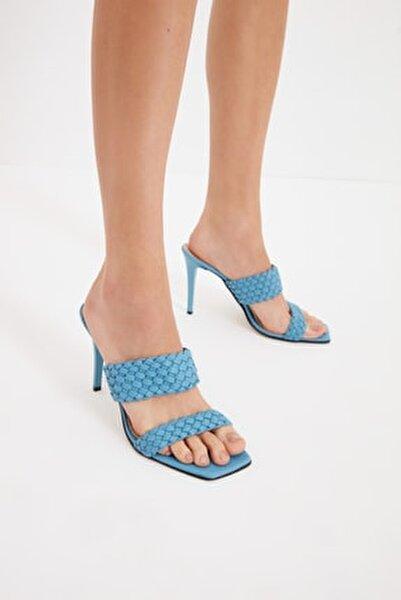 Mavi Örgü Detaylı Kadın Terlik TAKSS21TE0070