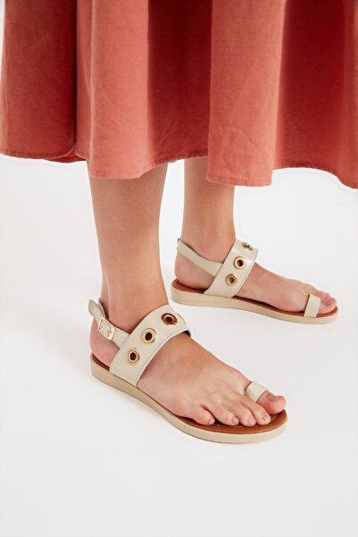 TRENDYOL SHOES Bej Hakiki Deri Kadın Sandalet TAKSS21SD0037