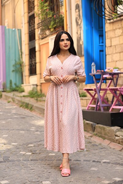 LİLA İSTANBUL V Yaka Viskon Kumaş Kalp Desenli Yazlık Elbise