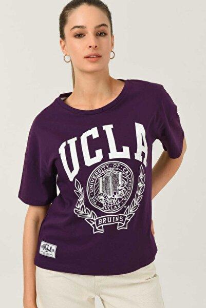 UCLA Avalon Mor Oversize Bisiklet Yaka Baskılı Kadın T-shirt
