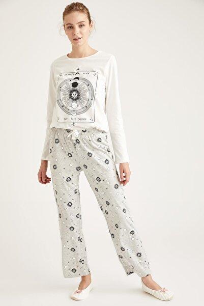 DeFacto Luna Moon Baskılı Uzun Kollu Pijama Takımı