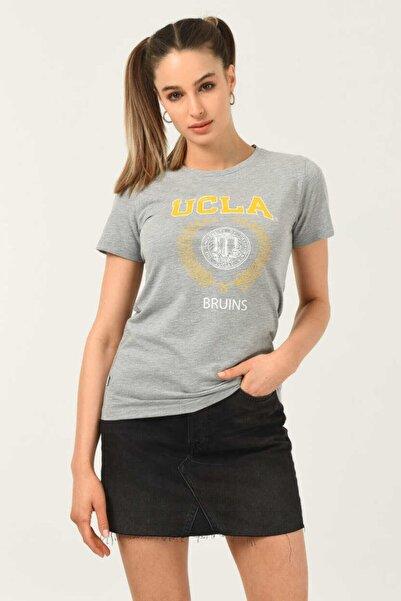 UCLA Artesıa Gri Bisiklet Yaka Kadın T-shirt