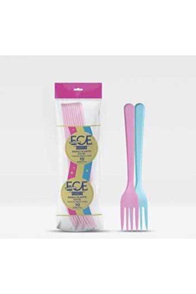 Ece Renkli Plastik Çatal Lüks 10'lu 1 Paket