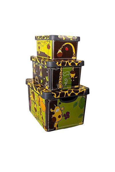 QUTU Style Box Giraffe - Set - 3 Parça Dekoratif Saklama Kutusu