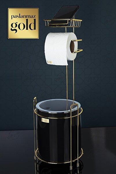 vipgross Vıpgross Wc Kağıtlık Yedekli Ve Çöp Kovası Siyah Gold Kb-755