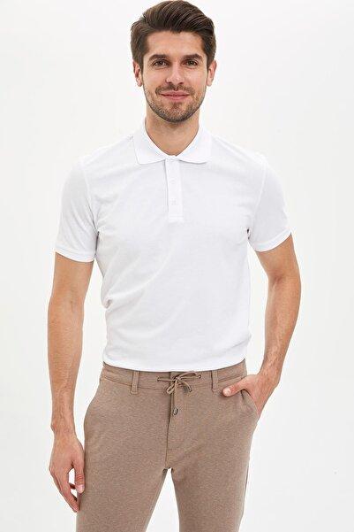 DeFacto Regular Fit Polo Yaka Basic Kısa Kollu Beyaz Tişört