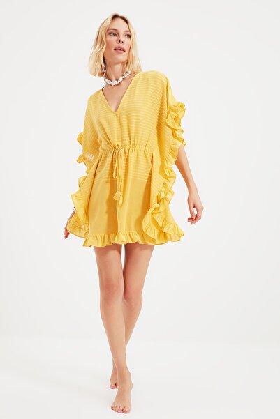 TRENDYOLMİLLA Sarı Çizgili Rustik Kimono&Kaftan TBESS21KM0057