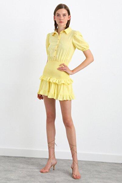 adL Kısa Kol Beli Lastikli Mini Elbise