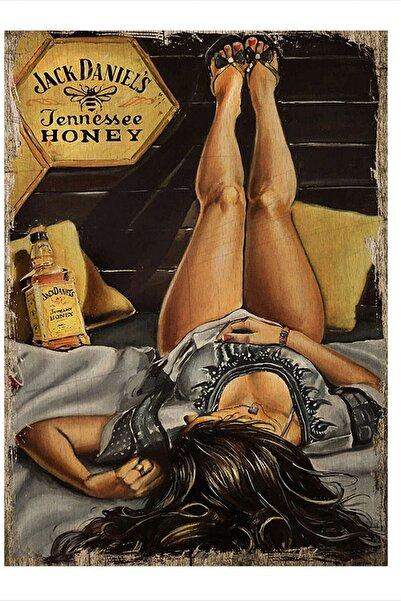 Tablomega Viski Içen Kadın Hediyelik Ahşap Tablo