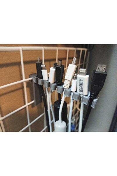 TeknoDuvar Kablo Tutucu Organik Plastikten Organizer Aparat Aksesuar Gri