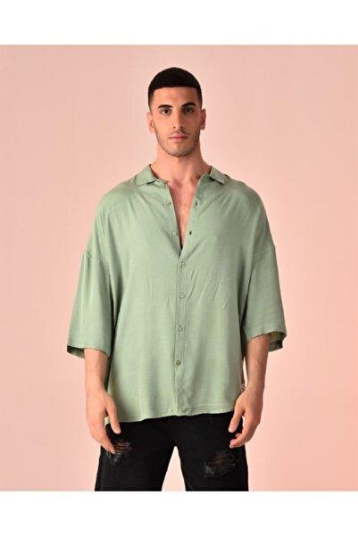 Rocqerx Oversize Kısa Kol Keten Gömlek R-3268