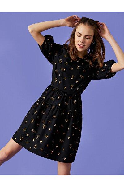 Koton Kadın Siyah Poplin Çiçekli Elbise