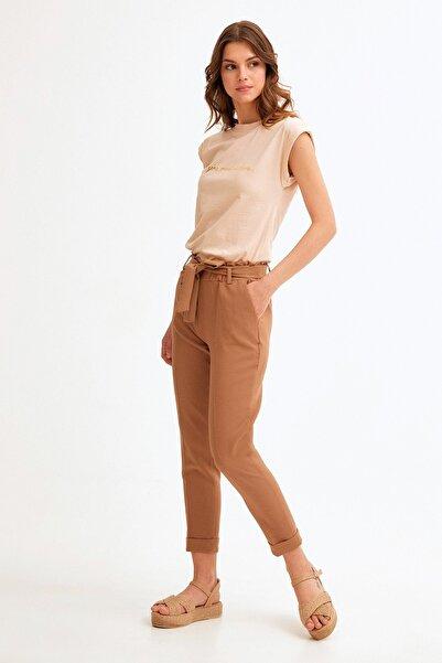 Fulla Moda Beli Lastikli Duble Paça Kuşaklı Pantolon