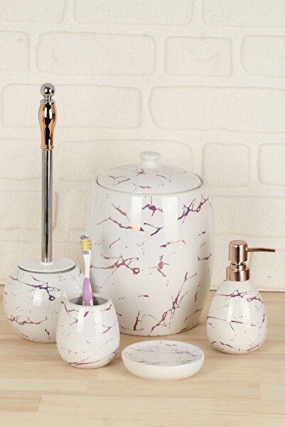 AROW Luca Mermer Görünümlü Porselen Banyo Takımı 5 Parça/beyaz