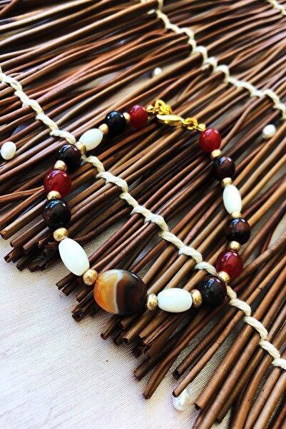 Dr. Stone Dr Stone Doğaltaş el yapımı  afrika koleksiyonu Kadın akik ve sedef taşı Bileklik YAHL7