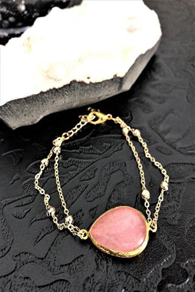 Dr. Stone Dr Stone Doğaltaş pembe kuvars taşı El yapımı altın kaplama Kadın Bileklik DKRB10