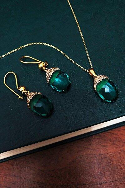 Dr. Stone Dr stone  zümrüt yeşili  hindistan kristali  gümüş Kadın Set XDRSOTT11