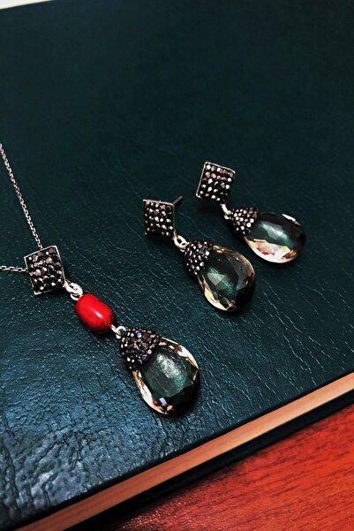 Dr. Stone Dr stone  topaz rengi   hindistan kristali ve mercan  gümüş Kadın Set XDRSOTT7