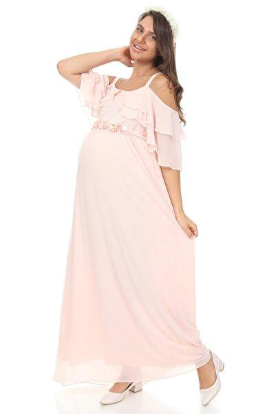 Işşıl 6021-baby Shower Çiçek Kuşak Hamile Abiye Elbise