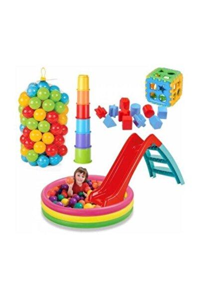 Anka Kaydıraklı Oyun Seti 114 cm Havuz Kaydırak Bultak Mini Kule 100 Adet Top