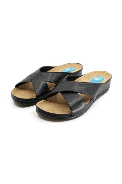Ceyo Kadın Siyah Topuklu Terlik 9946-1