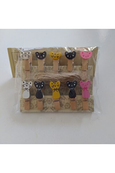 Apiko Shop 10 Adet Mini Dekoratif Ahşap Fotoğraf Mandalı Renkli Kedifigürlü,(jüt Ip Hediyeli)