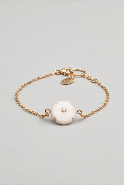So CHIC... Sedef Taşlı Çiçek Figürlü 18 Ayar Rose Altın Kaplama Gümüş Bileklik