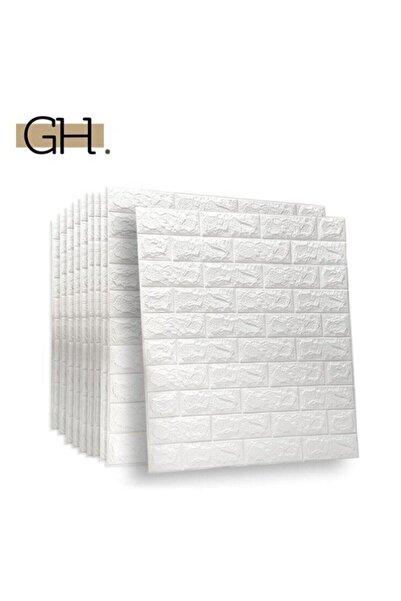 Renkli Duvarlar Kendinden Yapışkanlı 3d Tuğla Duvar Paneli Beyaz 77*70 Cm 0,53m2