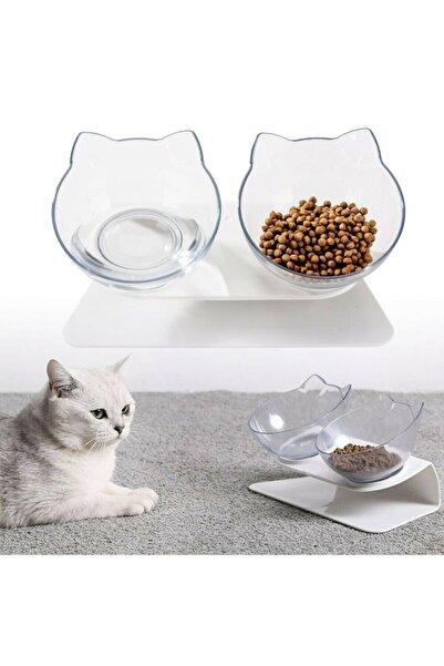 MUCA Kedi Kafalı Ikili Mama Kabı (ŞEFFAF)
