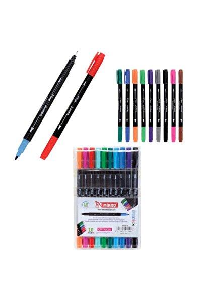 Mikro Keçeli Boya Kalemi Çift Uçlu Fineliner 10 Renk Zw 293-10