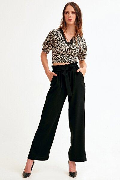 Fulla Moda Beli Lastikli Kuşaklı Bol Kesim Ayrobin Pantolon