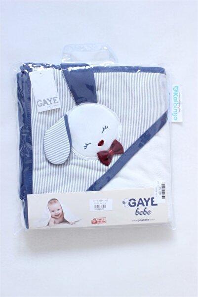 Gaye Bebe Tavşan Kabartmalı Bebek Banyo Havlusu Lacivert