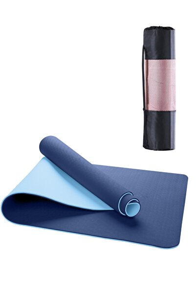 Gymo Ekolojik 6mm Tpe Yoga Matı Pilates Minderi Mavi