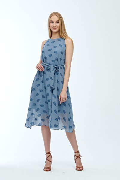 JEANNE DARC Mavi Kolsuz Kuşaklı Astarlı Pamuklu Kumaş Elbise Je545319