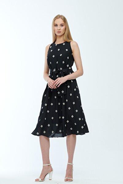JEANNE DARC Siyah Desenli Kuşaklı Astarlı Yakma Vual Elbise Je545318