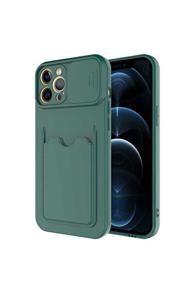 Apple Iphone 11 Pro Max Uyumlu Kılıf Slayt Sürgülü Kamera Korumalı Kartlıklı Kart Bölmeli Pastel Renkli