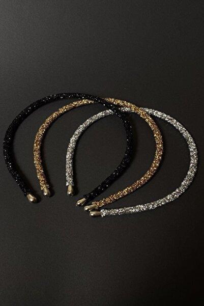 Bijuteri Online Kadın Siyah Altın Ve Gümüş Renk Kristal 3'lü Işıltılı Günlük Kullanıma Uygun Taç Seti