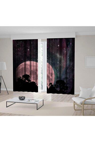 Henge Home Baskılı Fon Perde Gökyüzü Yıldız Ay Doğa Manzara Desenli