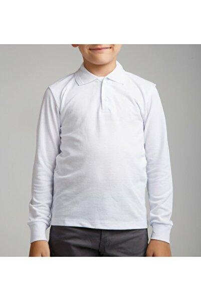 nacar çarşı Unısex Cocuk Polo Yaka Uzun Kol Beyaz T-shırt