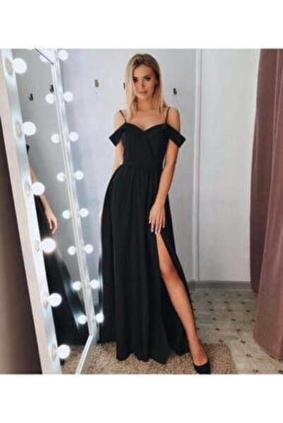 Şık Siyah Kruvaze Yaka , Pileli Abiye Elbise Uzun Elbise Düğün Elbisesi 078
