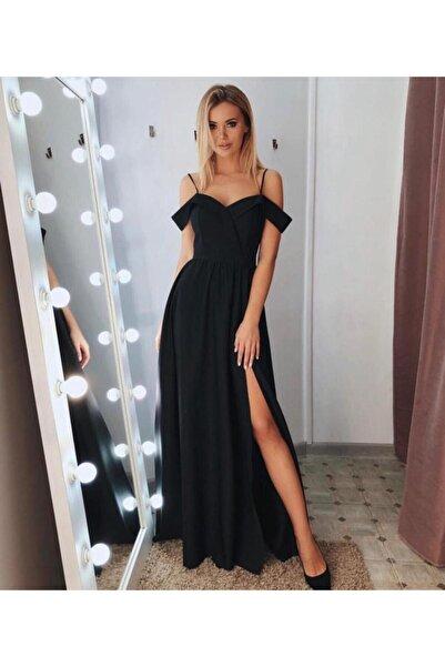 tknfashion Şık Siyah Kruvaze Yaka , Pileli Abiye Elbise Uzun Elbise Düğün Elbisesi 078