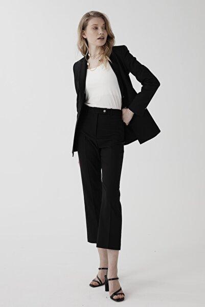 Chima Kadın Siyah Yüksek Bel Kısa Boru Paça Pantolon